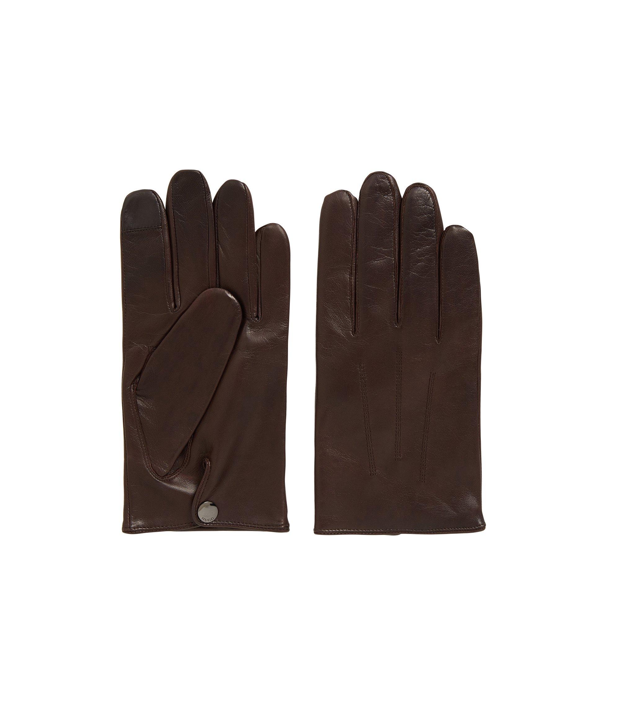 Gants pour écran tactile en cuir nappa doublé de cachemire, Marron foncé