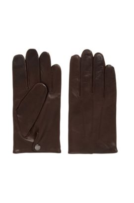 Handschoenen van nappaleer met kasjmiervoering en touchscreen-functie, Donkerbruin