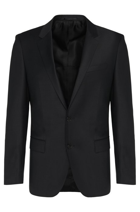 Slim fit jacket in stretch new wool blend: 'Hayes_cyl', Black