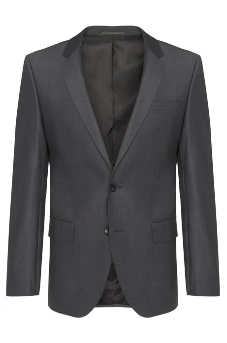 Slim fit jacket in stretch new wool blend: 'Hayes_cyl', Dark Grey