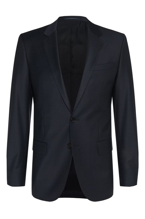 Slim fit jacket in stretch new wool blend: 'Hayes_cyl', Dark Blue