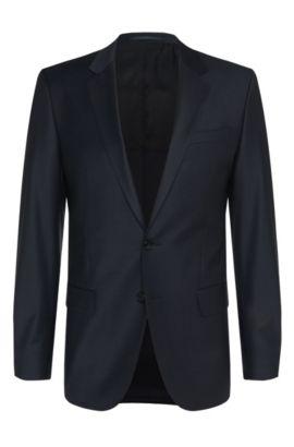 Americana slim fit en mezcla de lana virgen elástica: 'Hayes_cyl', Azul oscuro