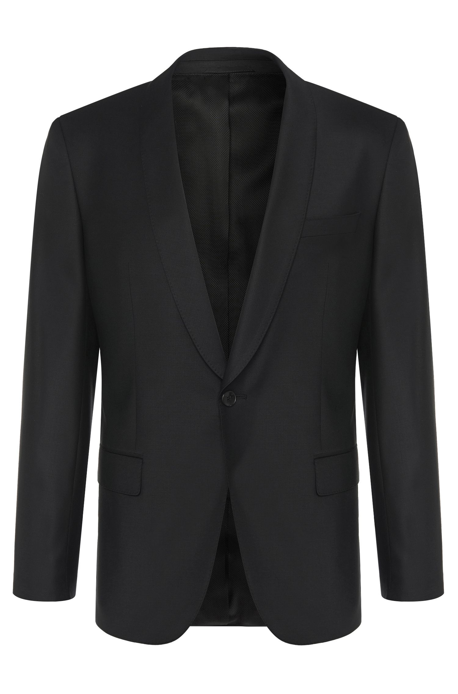 Slim-fit jacket in new-wool blend with elastane: 'Hyats_cyl', Black