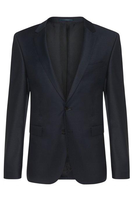 Extra-slim-fit jacket in stretch new-wool blend: 'Ryan_cyl', Dark Blue