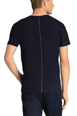 T-shirt à col V en jersey, Bleu foncé