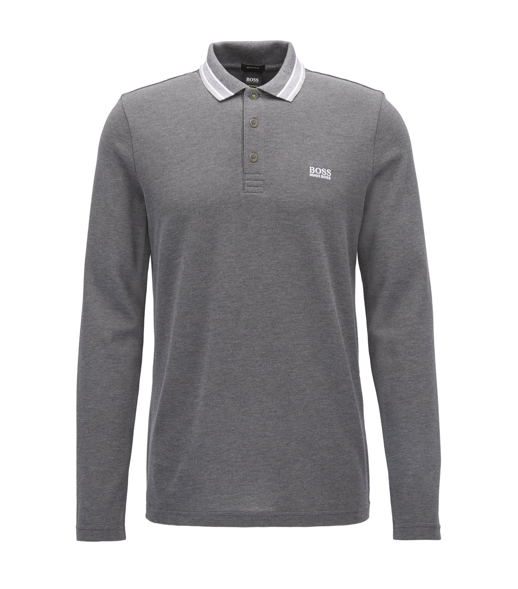 Polo regular fit en piqué de algodón, Gris