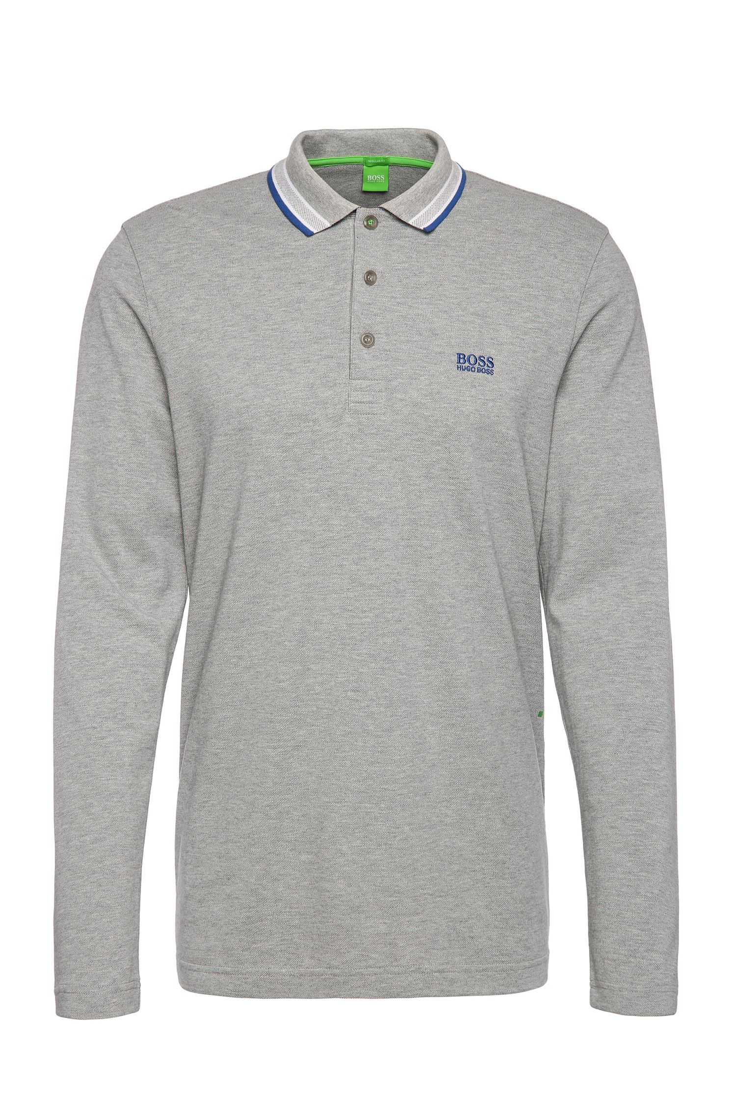 Long-sleeved polo shirt in cotton piqué: 'Plisy'