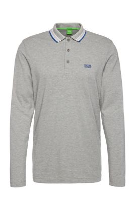 Long-sleeved polo shirt in cotton piqué: 'Plisy', Silver