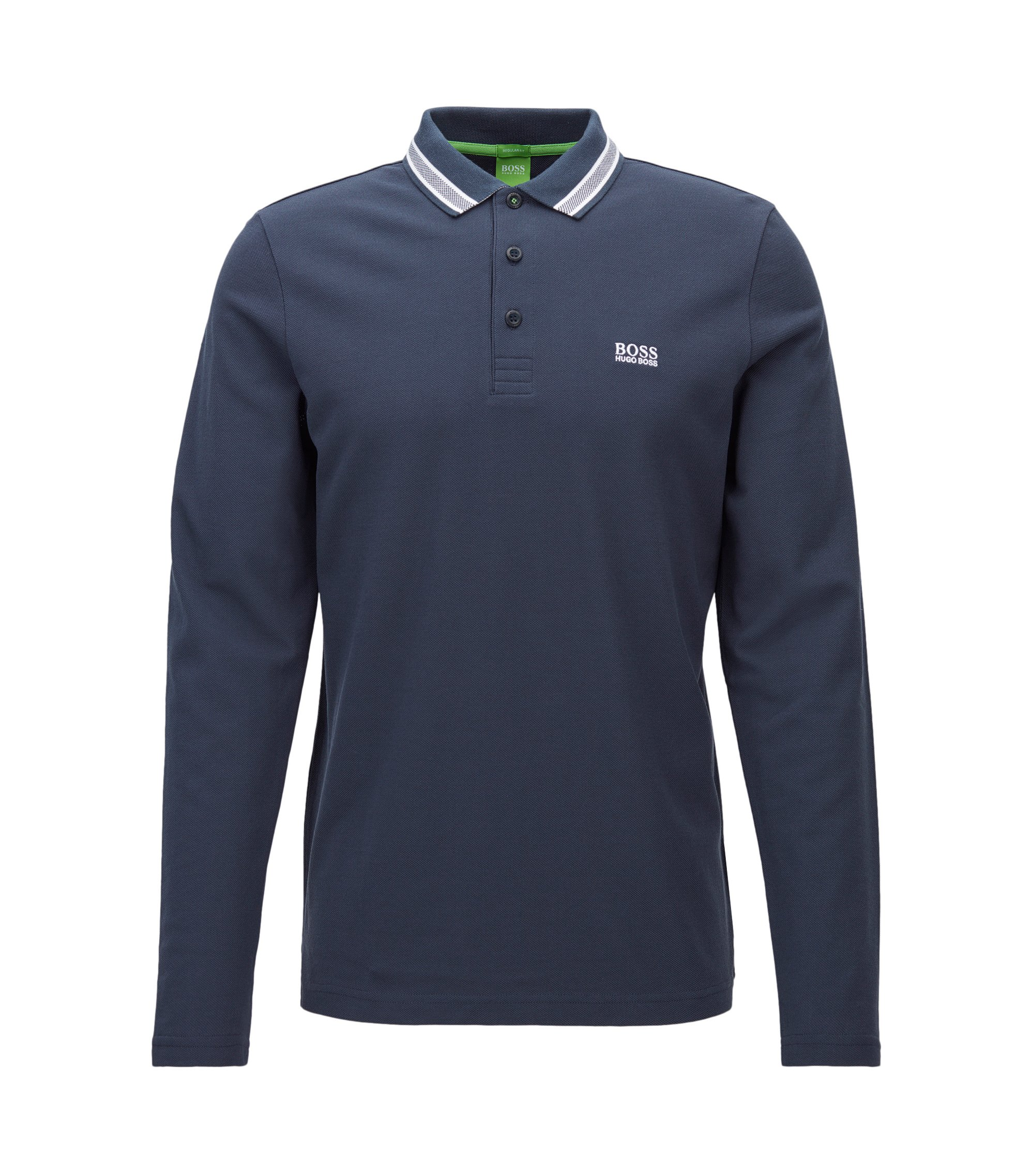 Regular-fit polo shirt in cotton piqué, Dark Blue