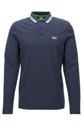 Polo à manches longues en maille piquée de coton: «Plisy», Bleu foncé