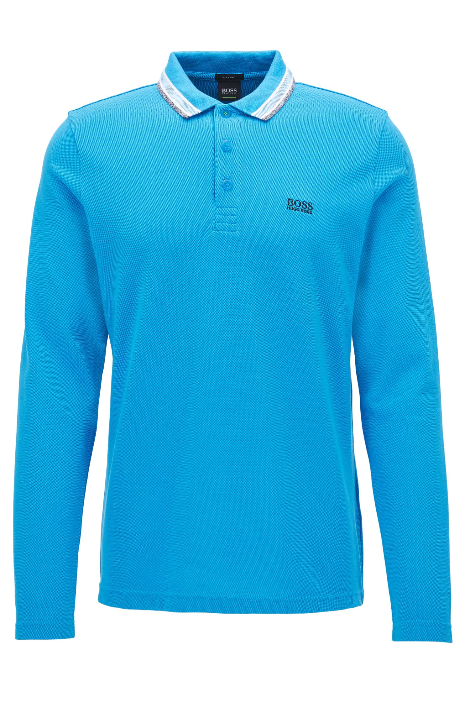 Regular-Fit Longsleeve Poloshirt aus Baumwoll-Piqué