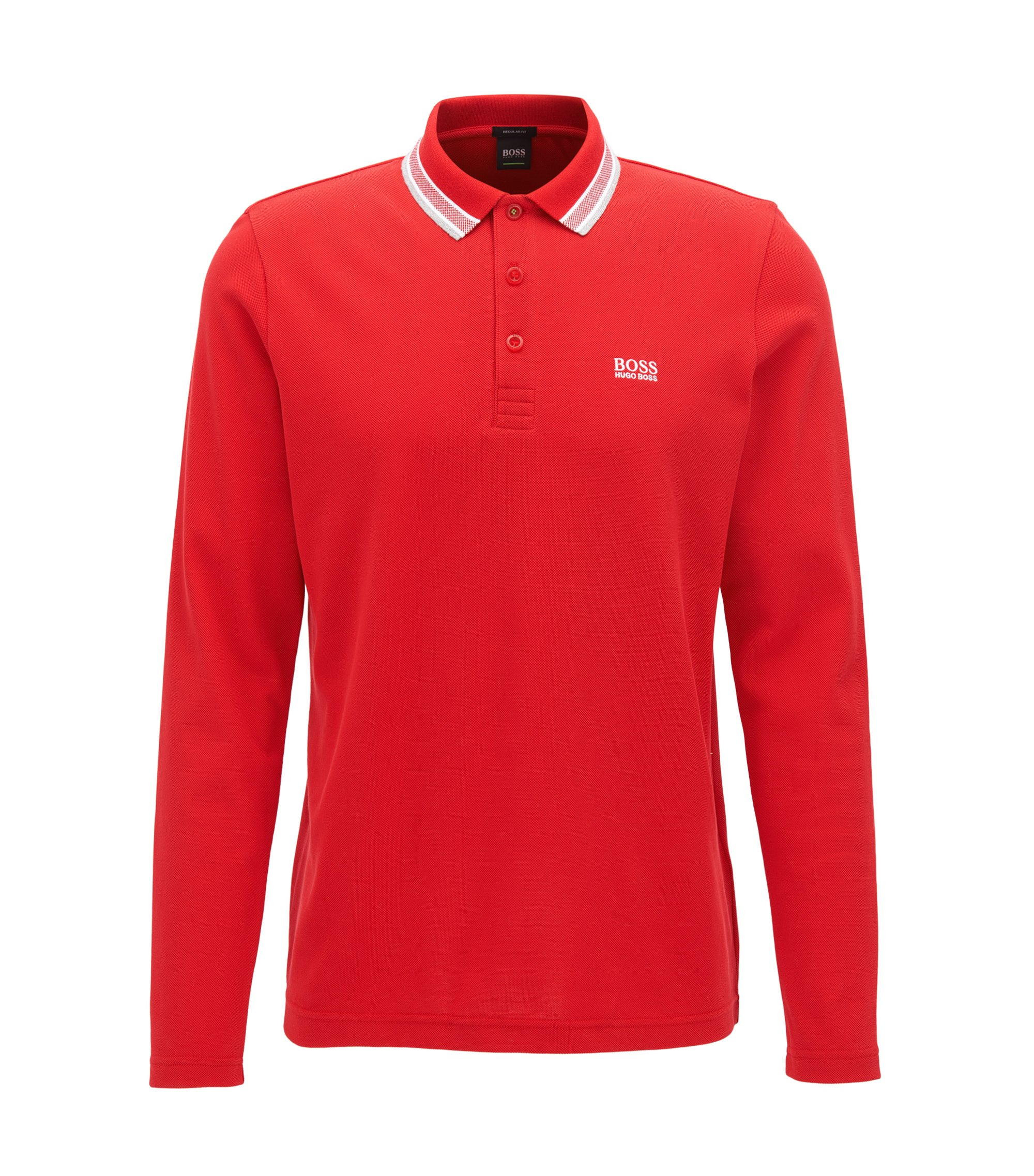 Regular-fit polo van katoenpiqué, Rood