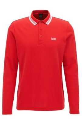 Polo Regular Fit en piqué de coton, Rouge