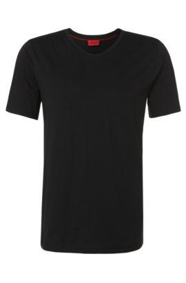 Effen slim-fit T-shirt van katoen: 'Danny', Zwart