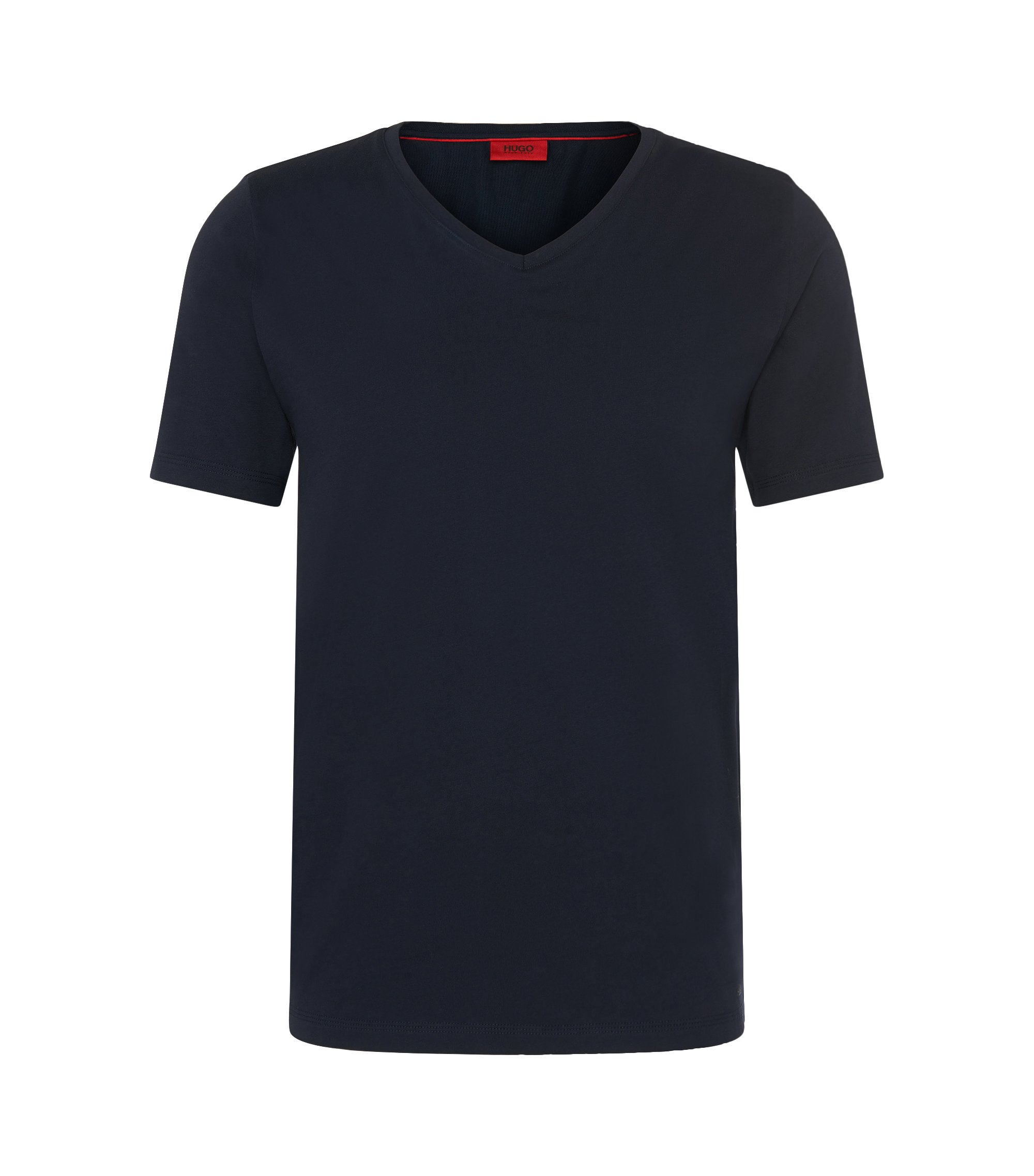 Unifarbenes Slim-Fit T-Shirt aus Baumwolle: 'Danny', Dunkelblau