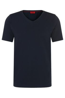 T-shirt slim fit in cotone in tinta unita: 'Danny', Blu scuro