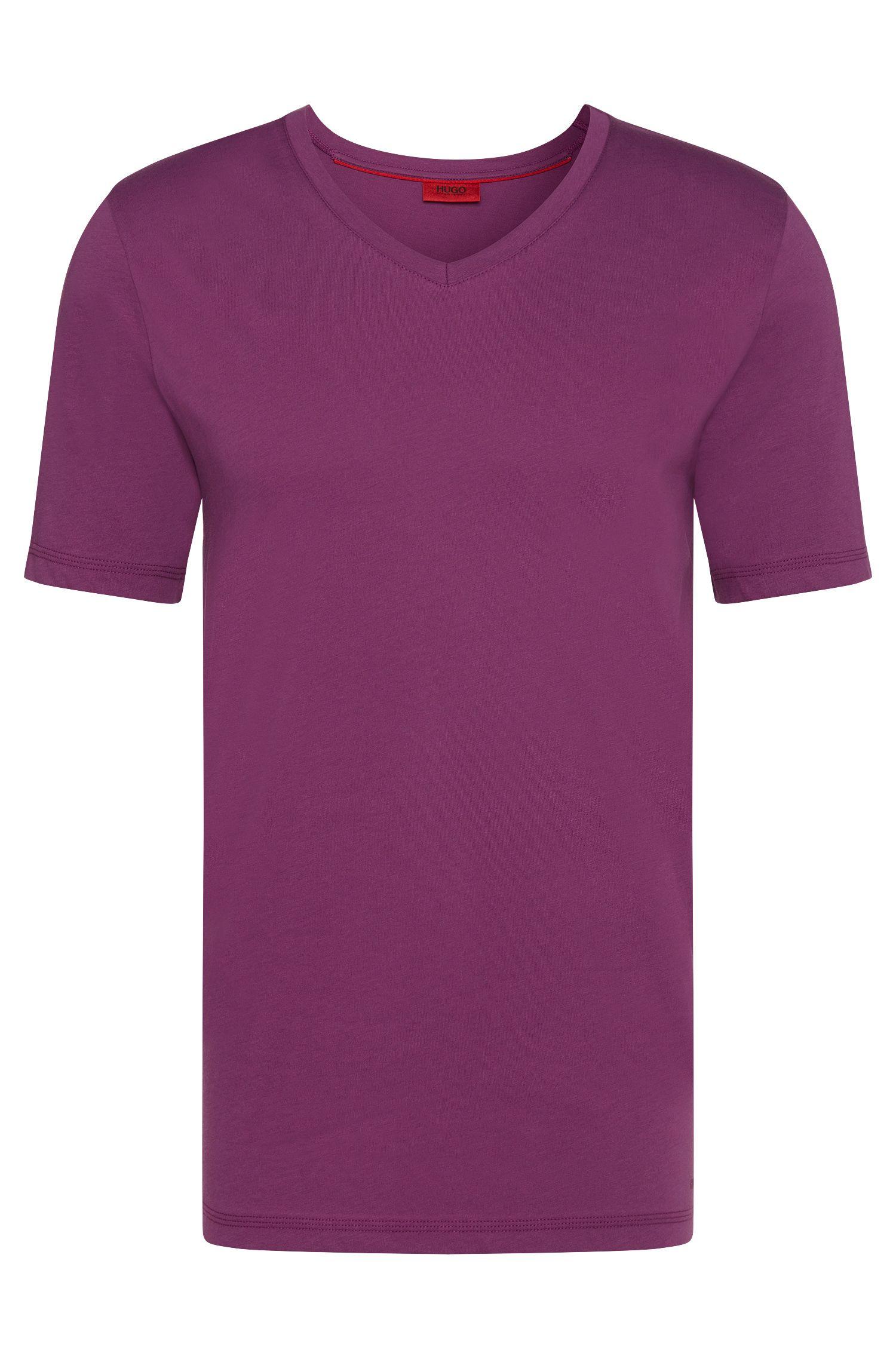 Plain slim-fit t-shirt in cotton: 'Danny'