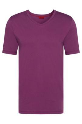 Effen slim-fit T-shirt van katoen: 'Danny', Lila