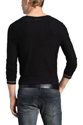T-shirt manches longues «Tracked3» en coton, Noir
