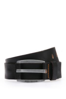 Leather belt with vintage-inspired buckle , Black