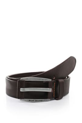 Leather belt with vintage-inspired buckle , Dark Brown