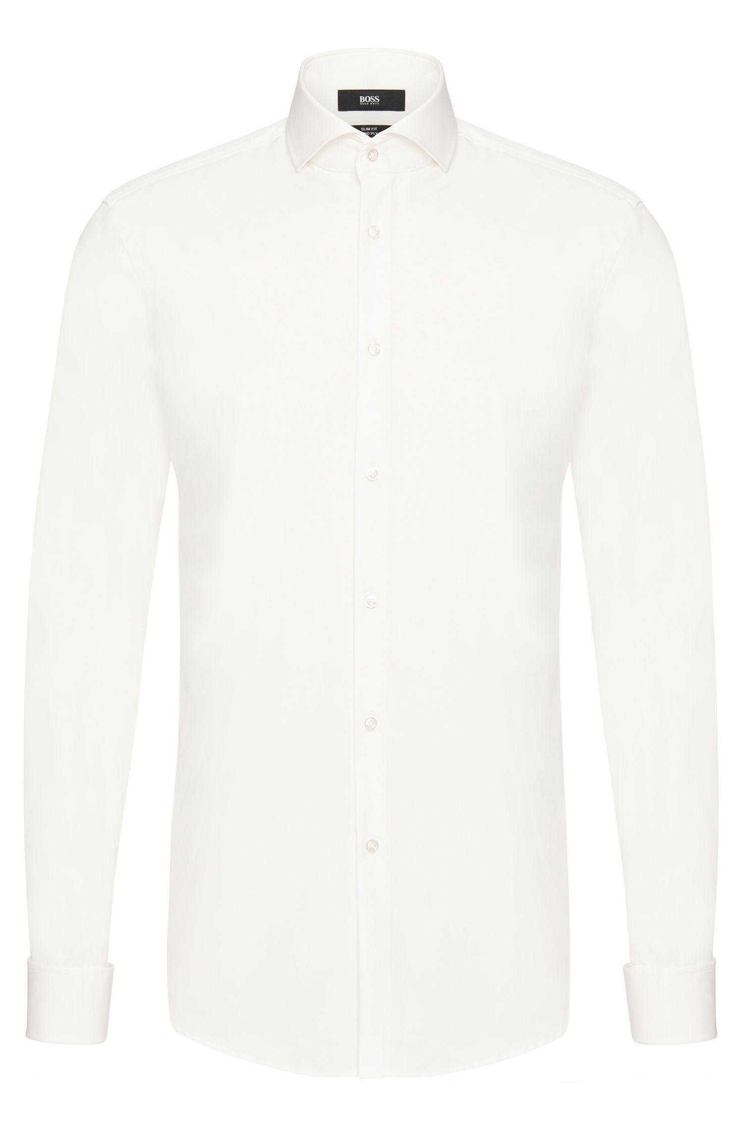 Slim-fit shirt in cotton with turn-back cuffs: 'Jaiden'