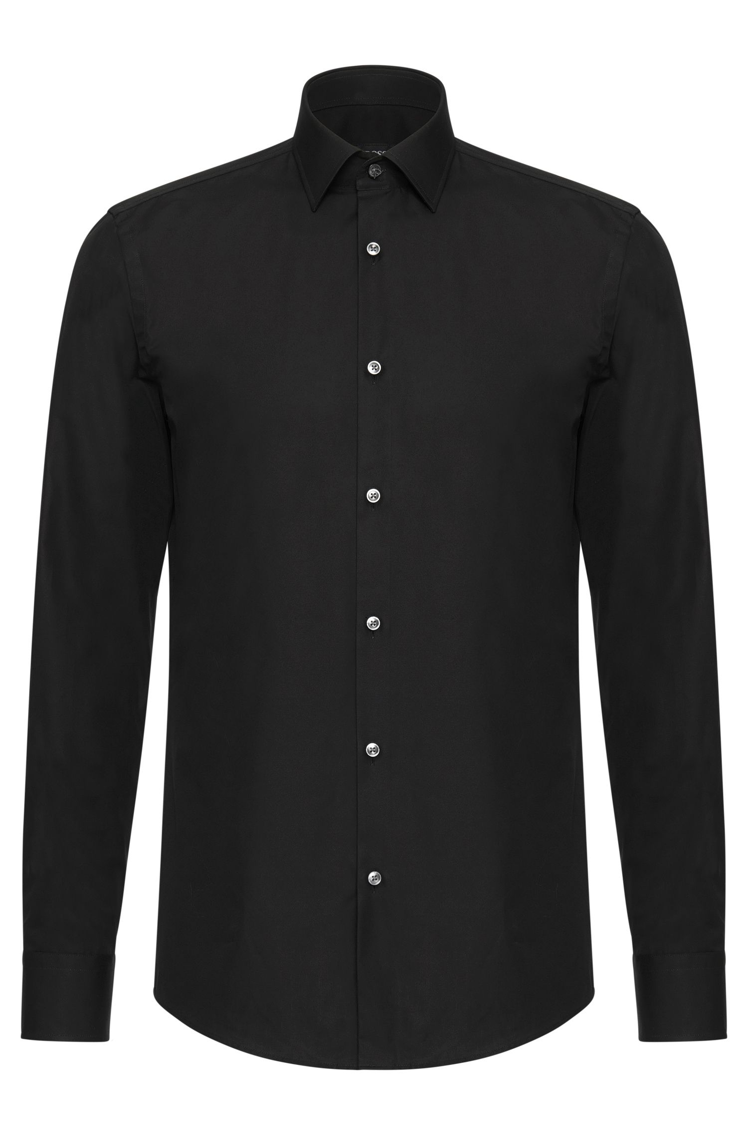 Plain slim-fit cotton shirt: 'Jenno'