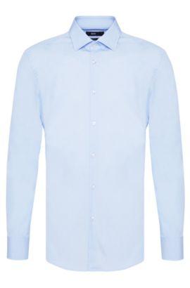 Plain slim-fit cotton shirt: 'Jenno', Light Blue
