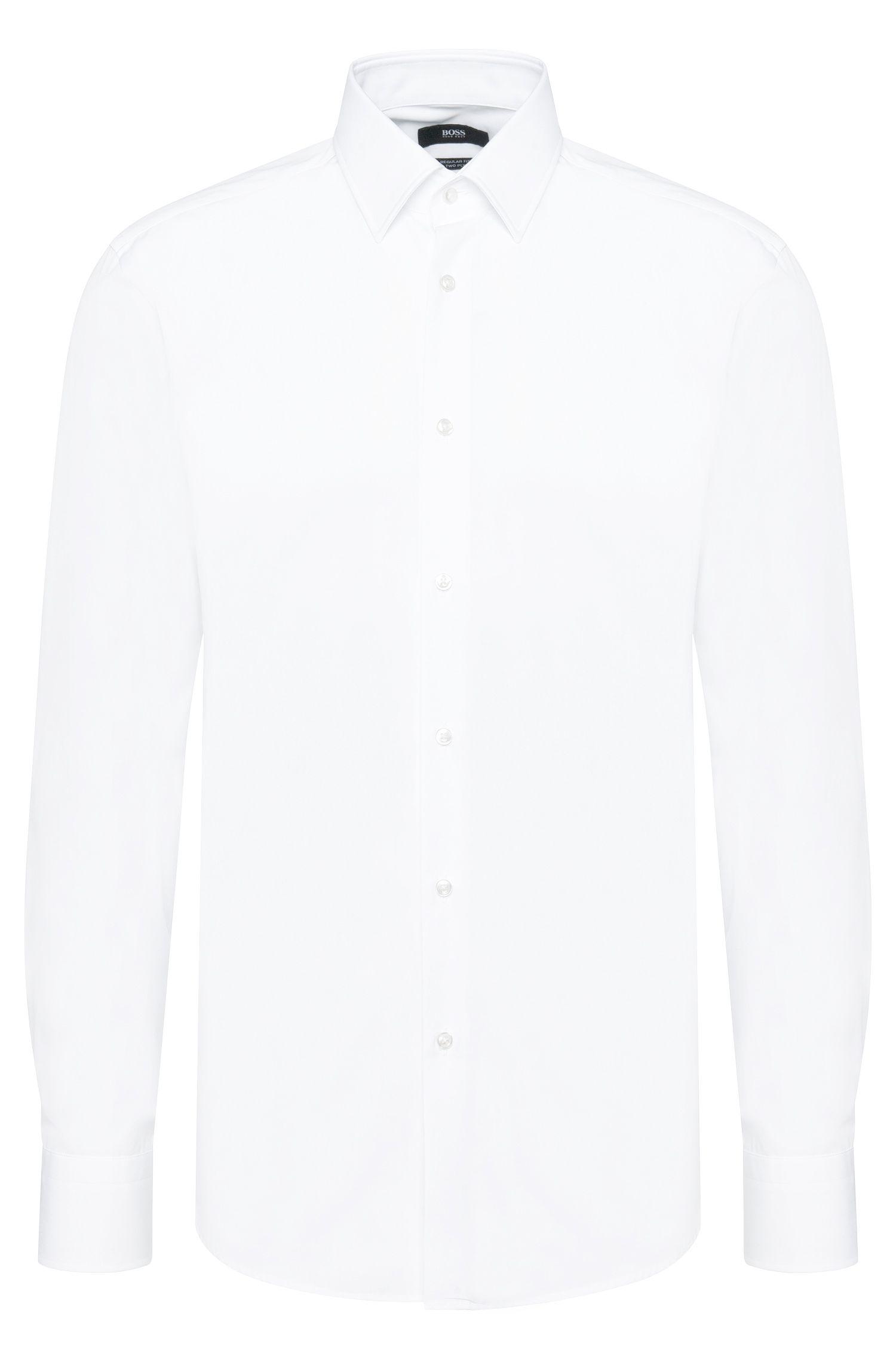 Chemise Regular Fit unie en coton: «Enzo», Blanc
