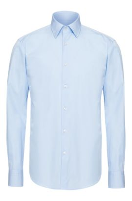 Unifarbenes Regular-Fit Hemd aus Baumwolle: 'Enzo', Hellblau