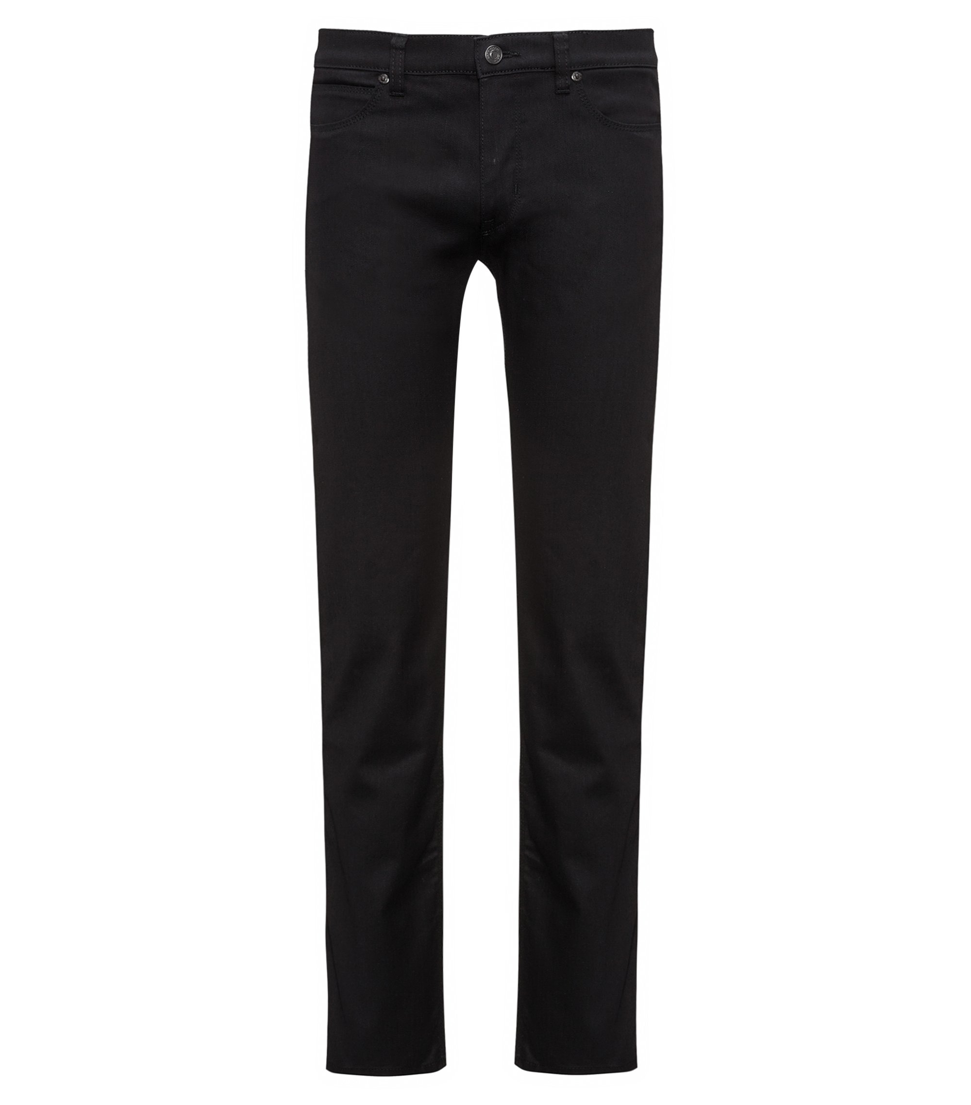 Slim-Fit Jeans aus elastischem Stay Black Denim, Schwarz
