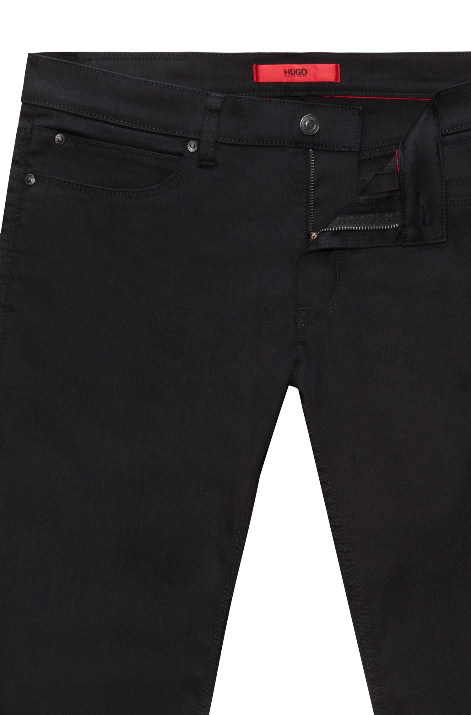 Slim-fit jeans in stay-black denim by HUGO Man, Black