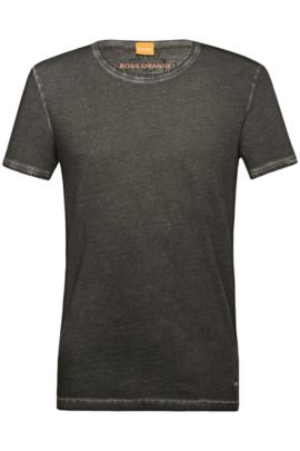 Regular-fit T-shirt in garment-dyed cotton, Black