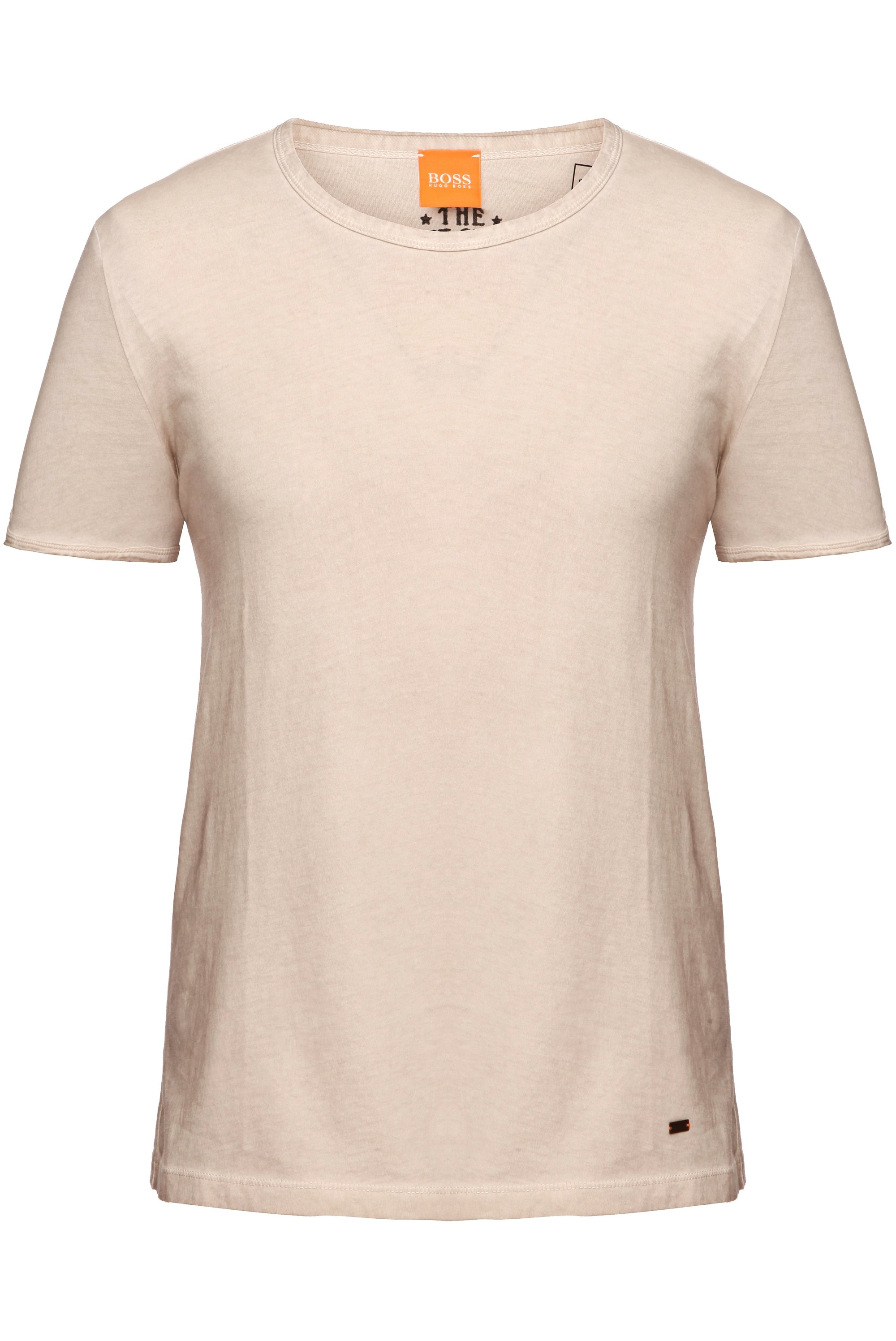 Regular-fit T-shirt van garment dyed katoen, Lichtbeige