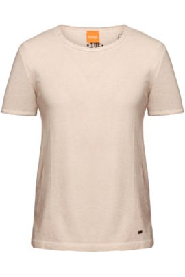 T-shirt regular fit in cotone tinto in capo BOSS Orange, Grigio chiaro