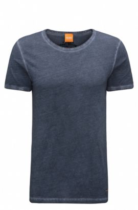 Regular-fit T-shirt in garment-dyed cotton, Dark Blue