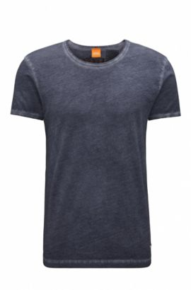 T-shirt regular fit in cotone tinto in capo BOSS Orange, Blu scuro