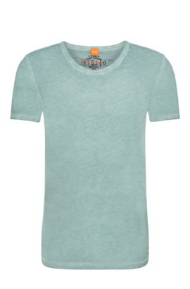 Regular-fit T-shirt in garment-dyed cotton, Turquoise