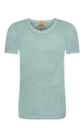T-shirt Regular Fit en coton teint en pièce, Turquoise