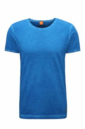 Regular-fit T-shirt in garment-dyed cotton, Blue