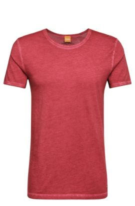 T-shirt regular fit in cotone tinto in capo BOSS Orange, Rosso