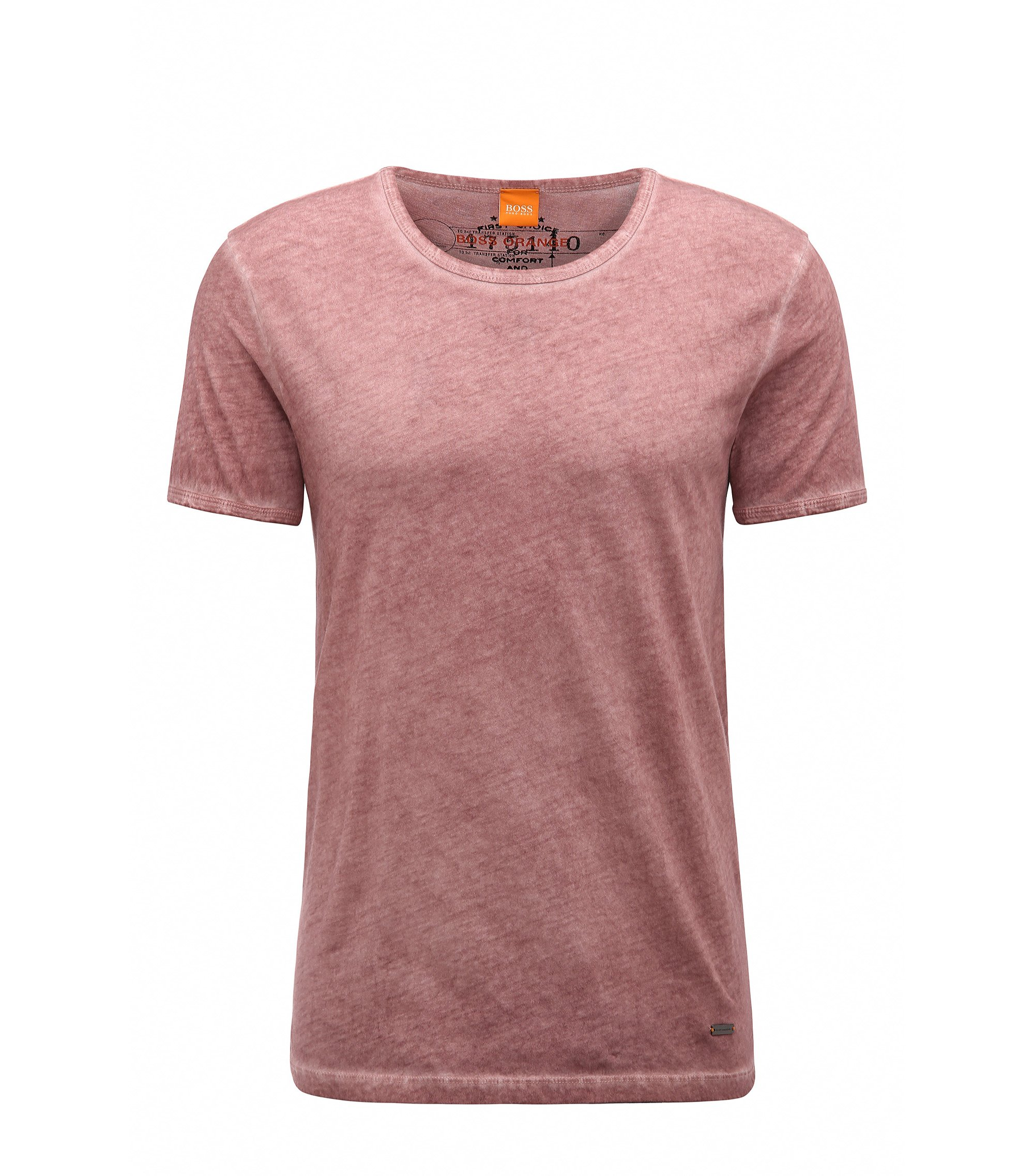 T-shirt regular fit in cotone tinto in capo BOSS Orange, Rosa chiaro