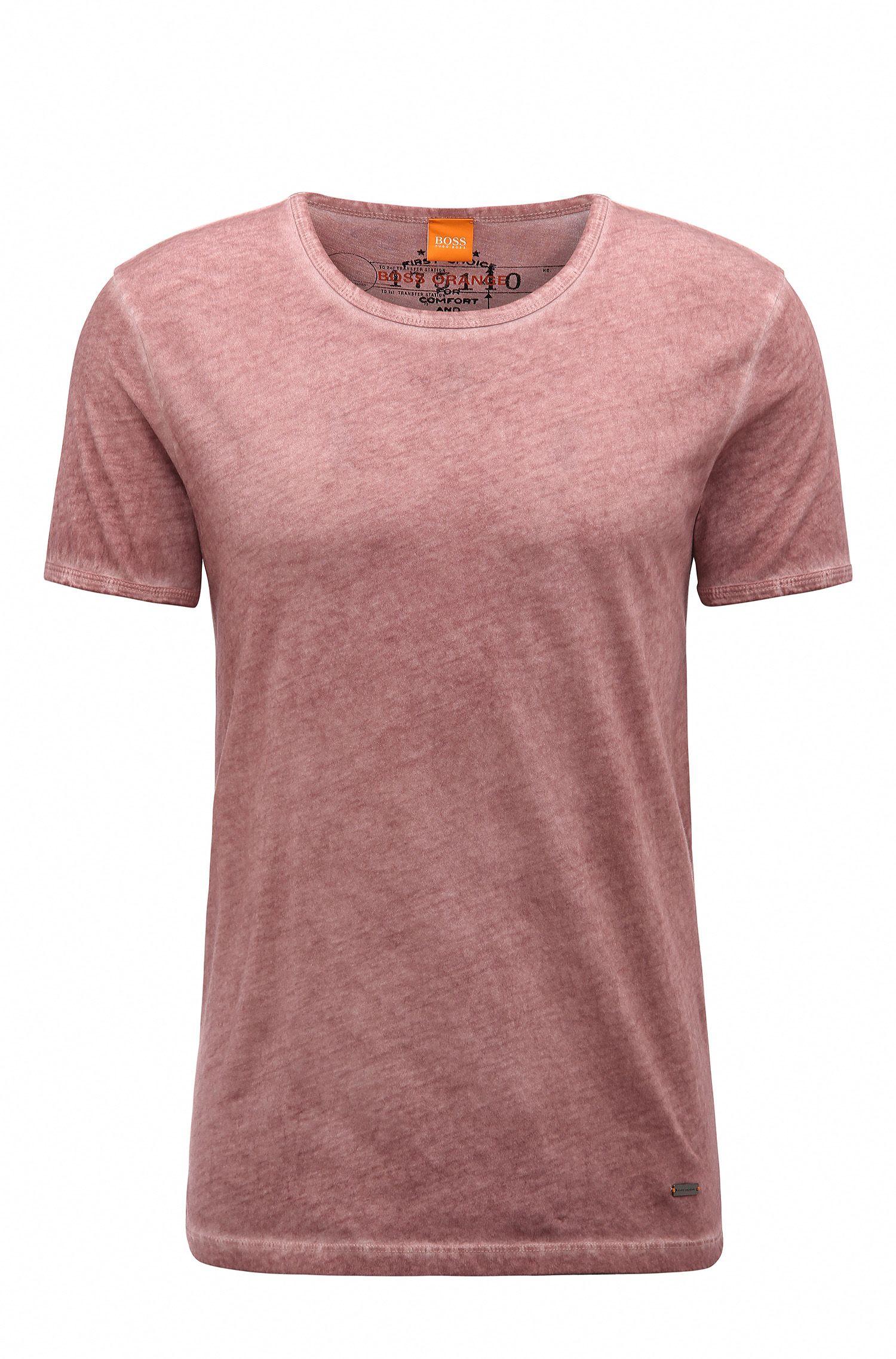 Camiseta regular fit en algodón teñido en prenda