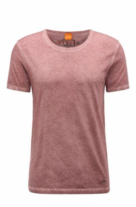 Regular-fit T-shirt in garment-dyed cotton, light pink