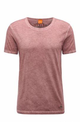Regular-fit T-shirt in garment-dyed cotton, light pink