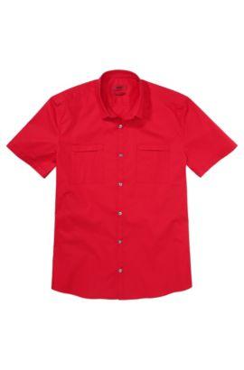 Slim-fit overhemd met korte mouwen 'Ettino' van een katoenmix, Rood