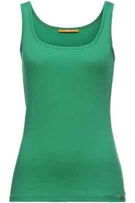 Unifarbenes Slim-Fit Tanktop aus Baumwoll-Mix: ´Thanxa`, Grün
