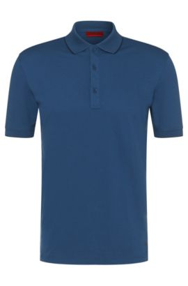 Polo Regular Fit en coton stretch : « Delorian », Bleu vif