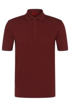 Regular-fit polo shirt in stretch cotton: 'Delorian', Dark Red