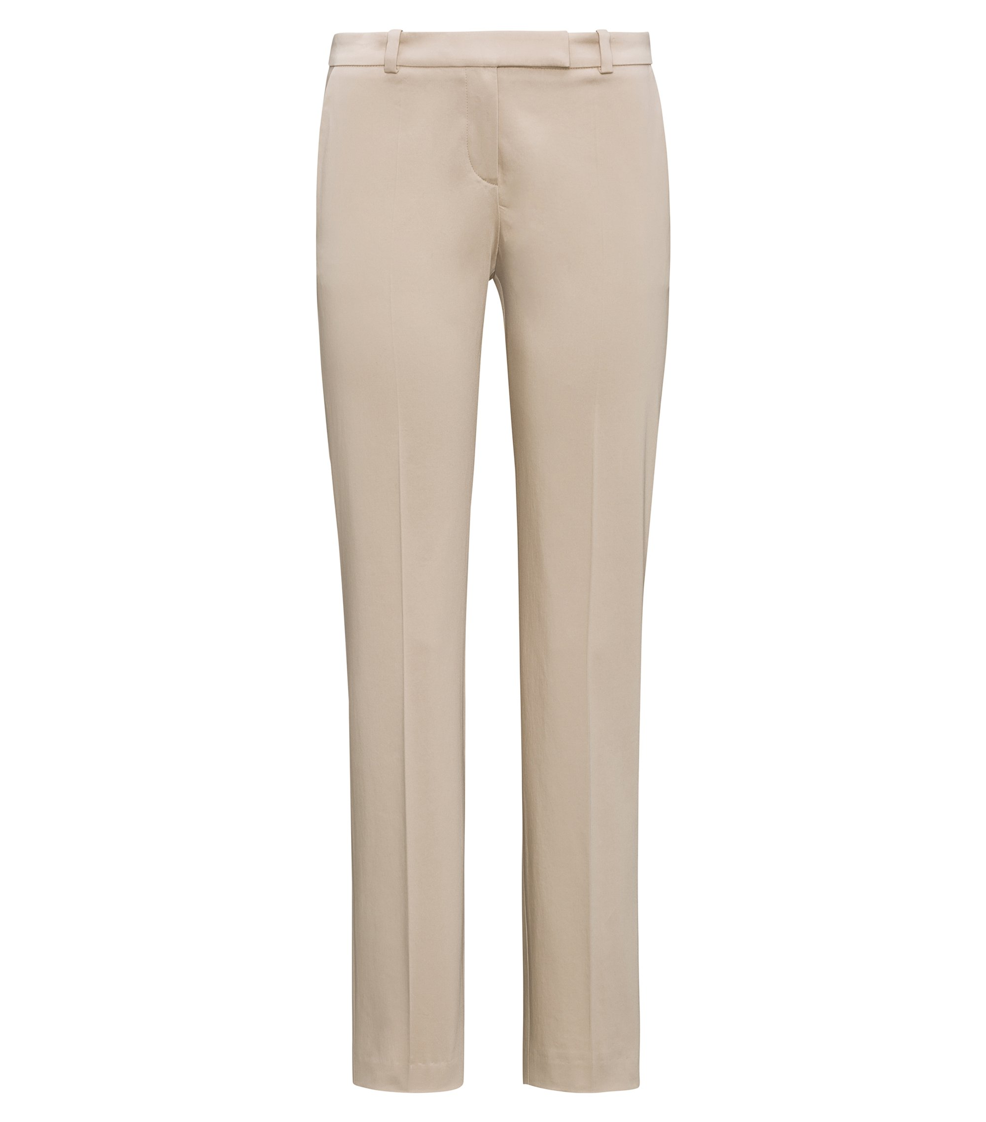Pantalon Regular Fit en coton stretch, Beige